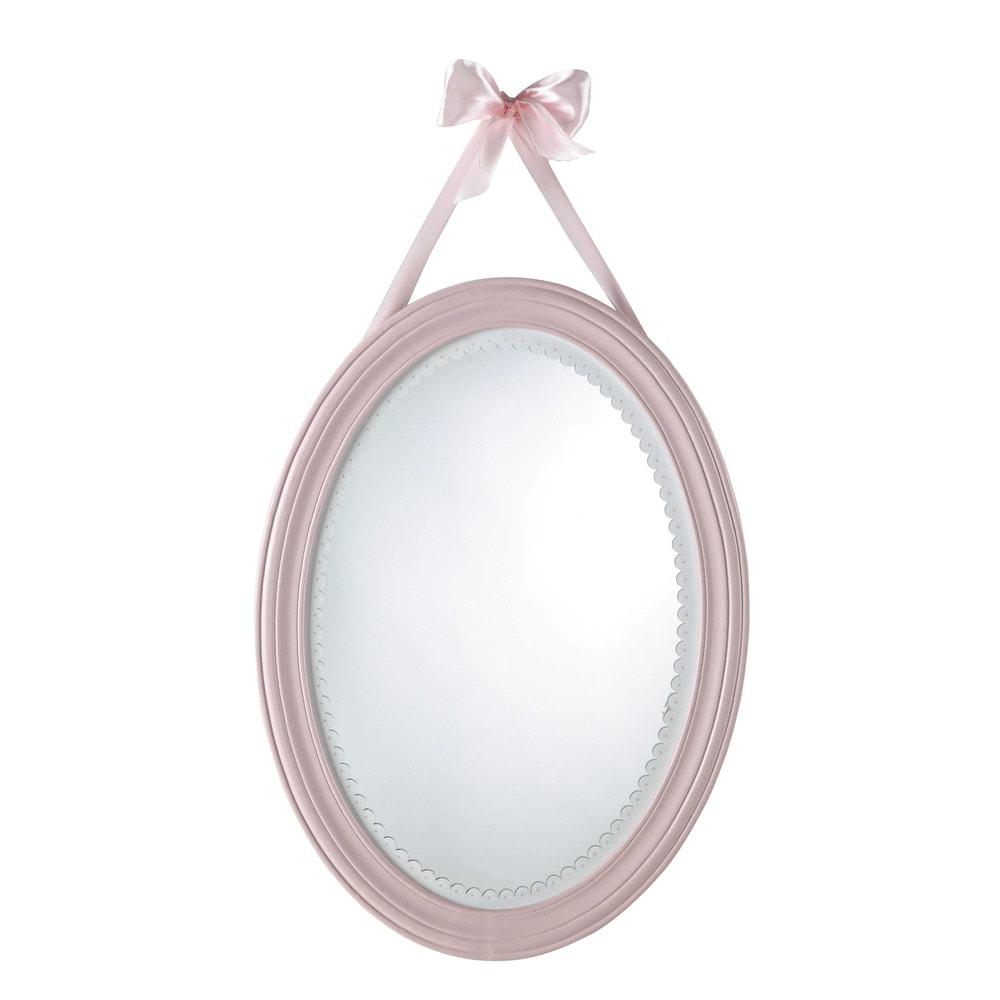 Miroir ovale rose 40x55