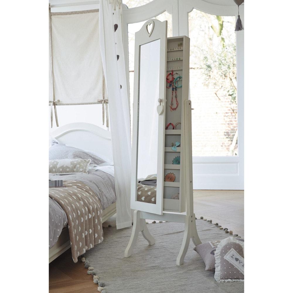 Miroir psyché avec rangement blanc 42x160