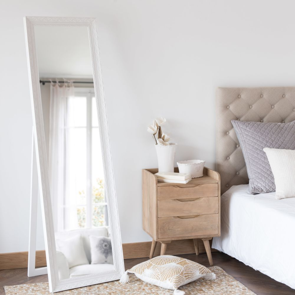 Miroir psyché en paulownia blanc 50x170