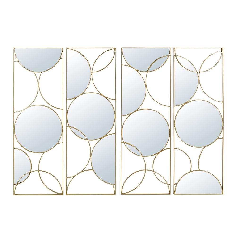 Miroir quadriptyque en métal doré 160x119