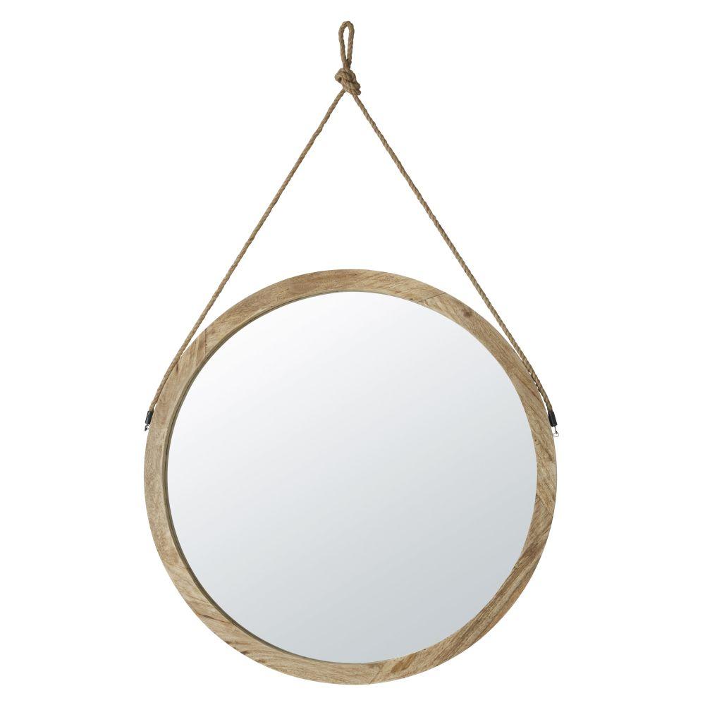 Miroir rond à suspendre en manguier et jute D81