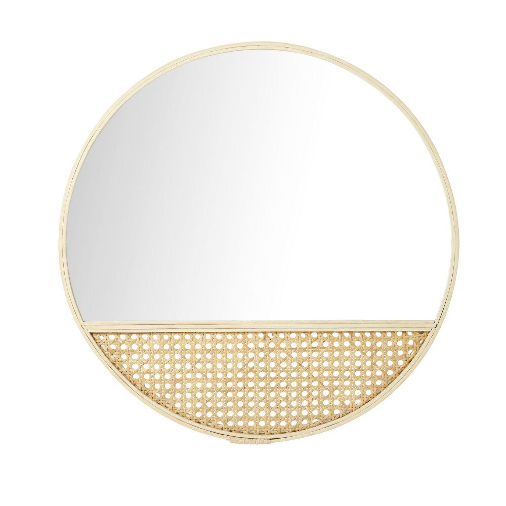 Miroir Rond Avec Cannage En Osier Et Bambou D51
