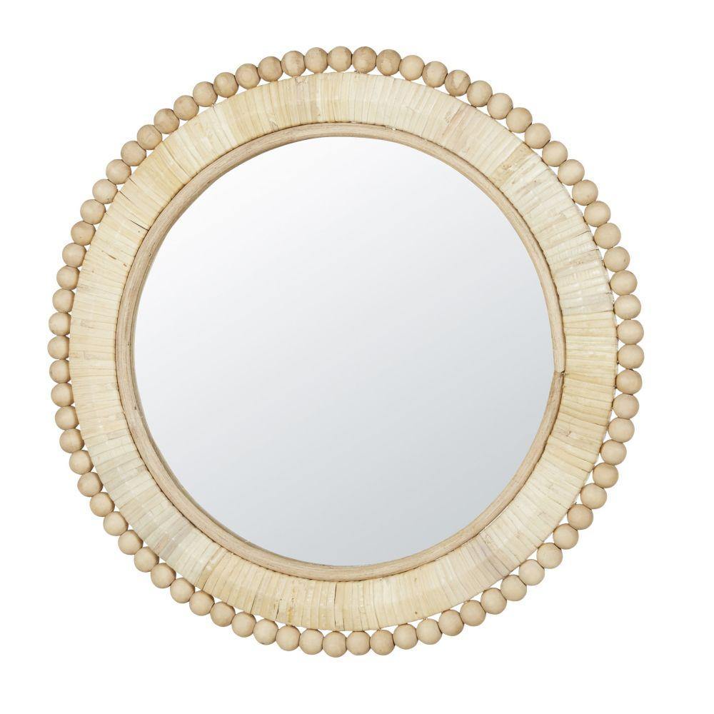 Miroir rond beige D35