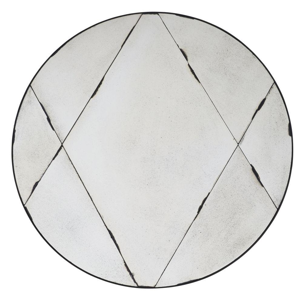 Miroir rond effet vieilli en métal noir D100
