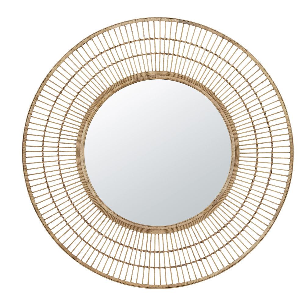 Miroir rond en bambou D99