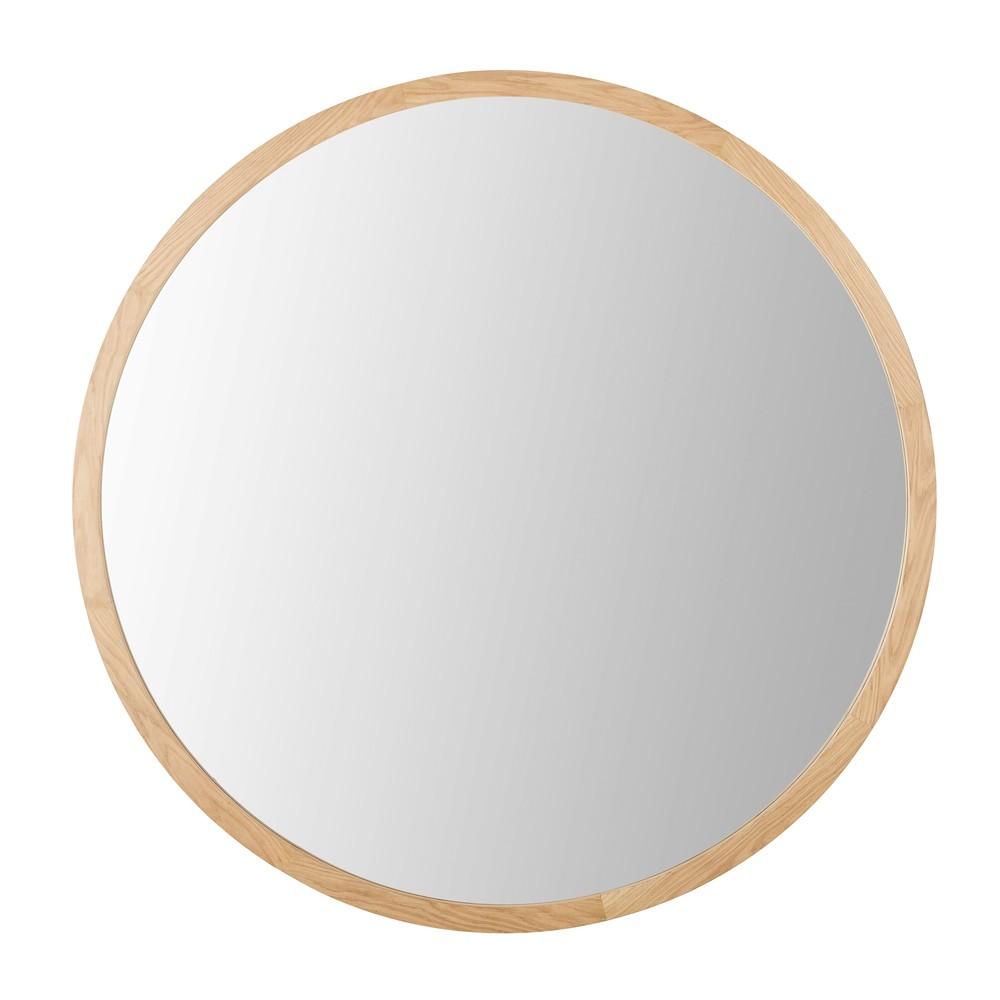 Miroir rond en chêne D159
