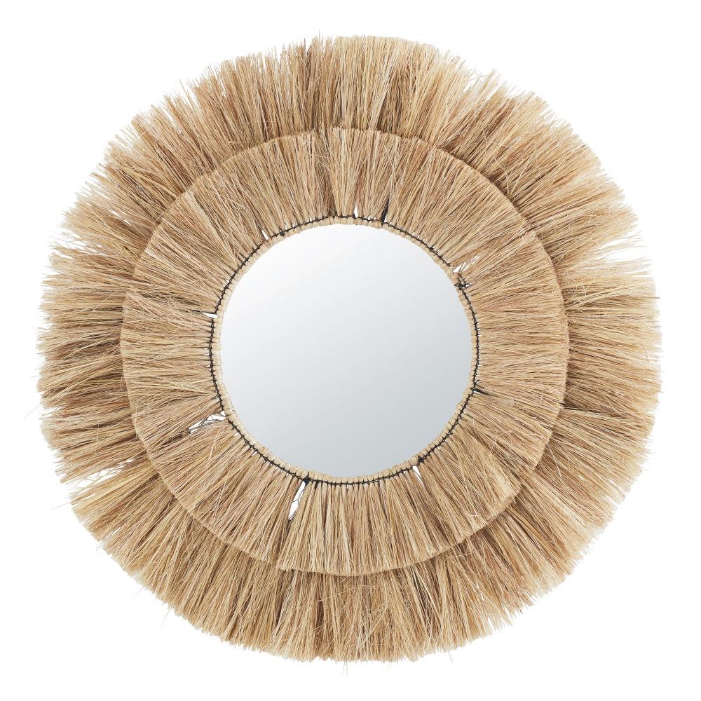 Miroir rond en fibre végétale D110