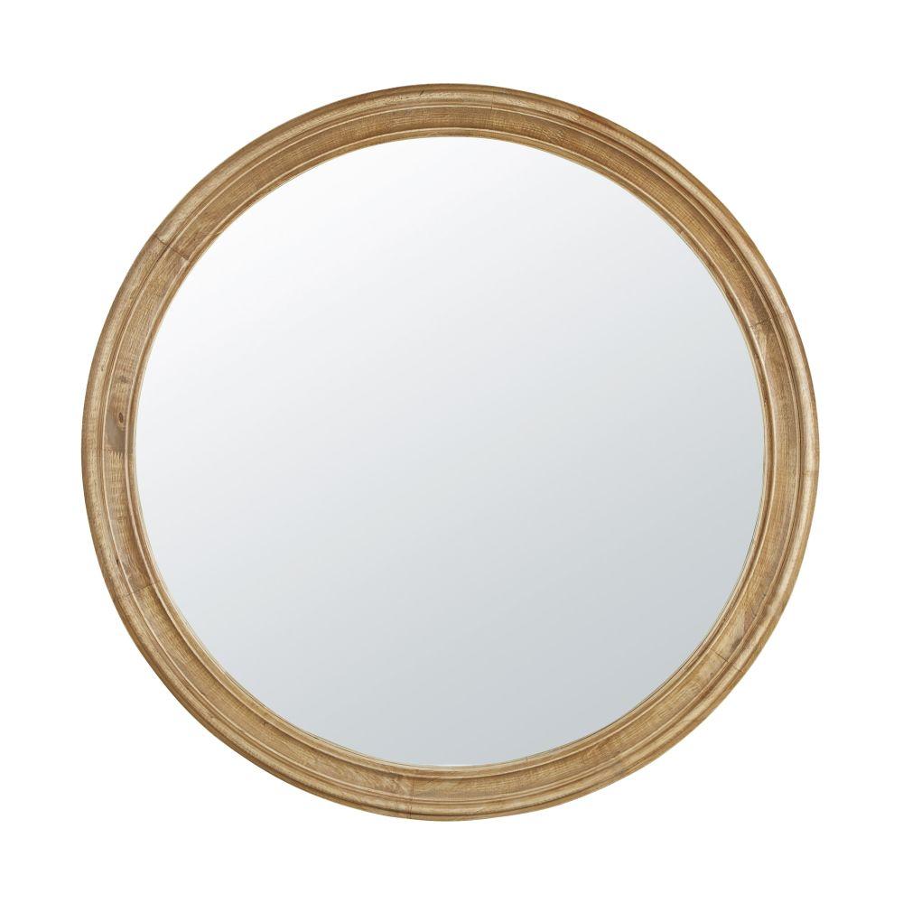 Miroir rond en hévéa à moulures D90