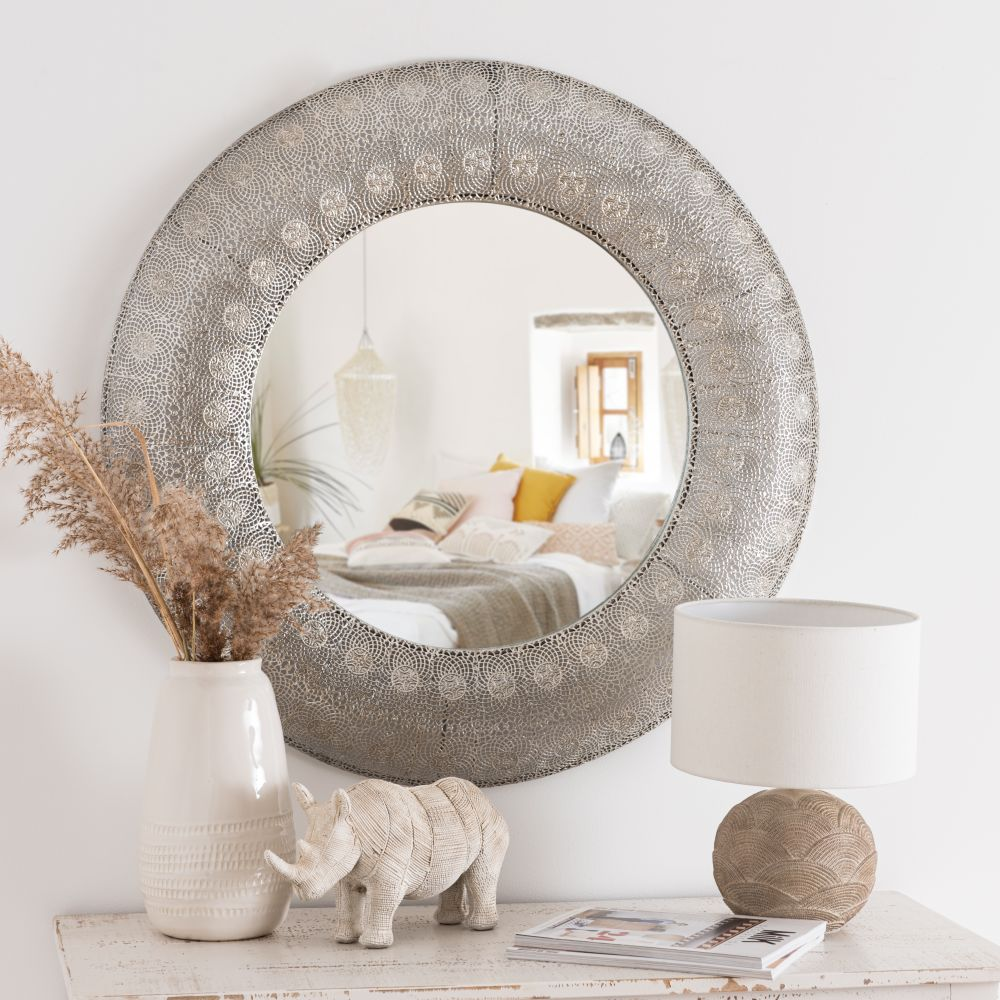 Miroir rond en métal argenté D80