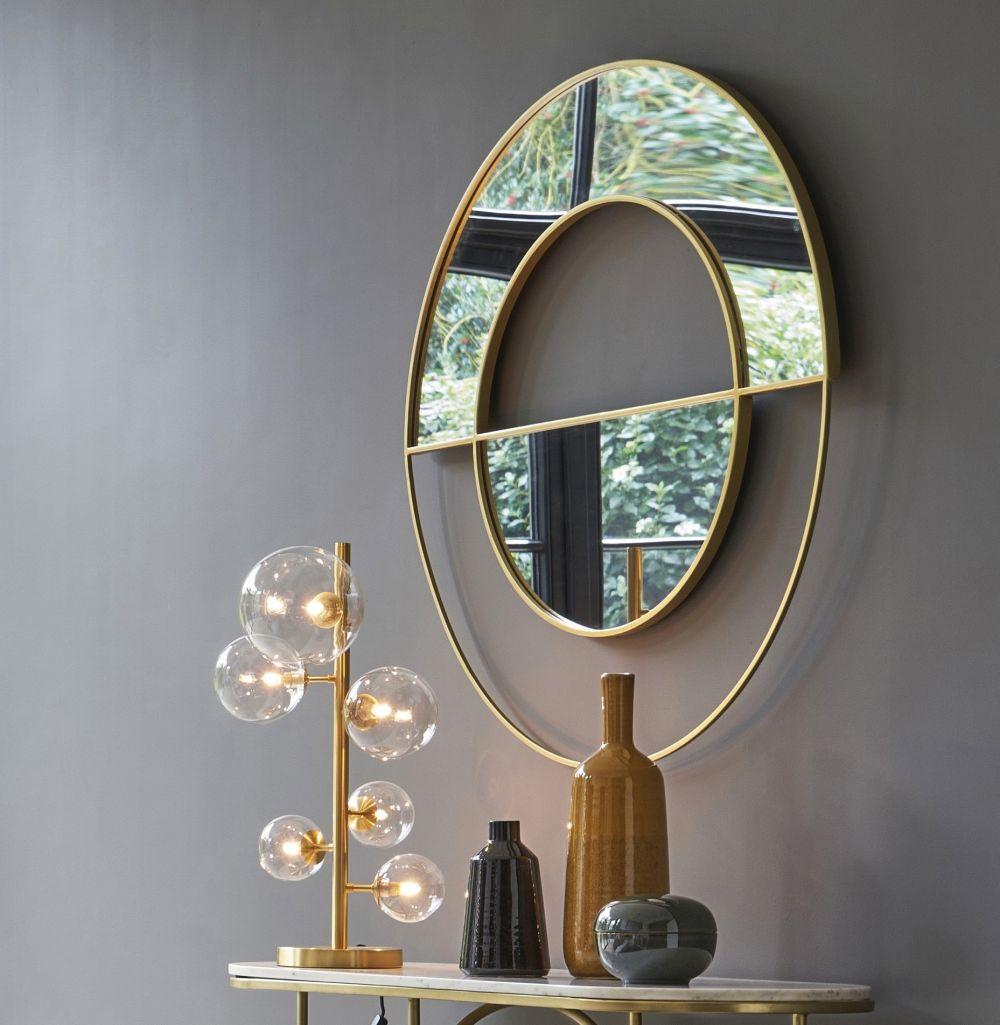 Miroir rond en métal doré D100