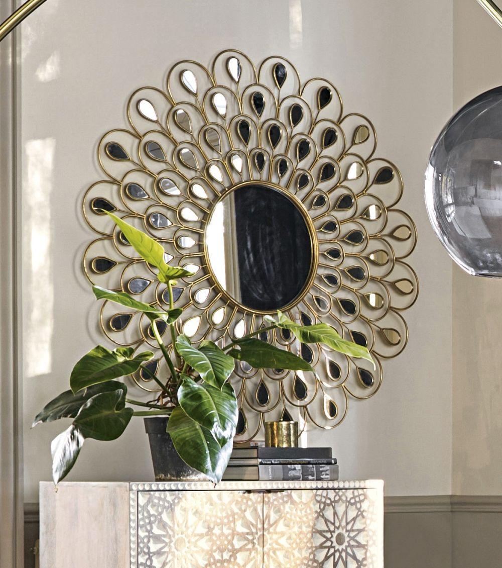 Miroir rond en métal doré D131