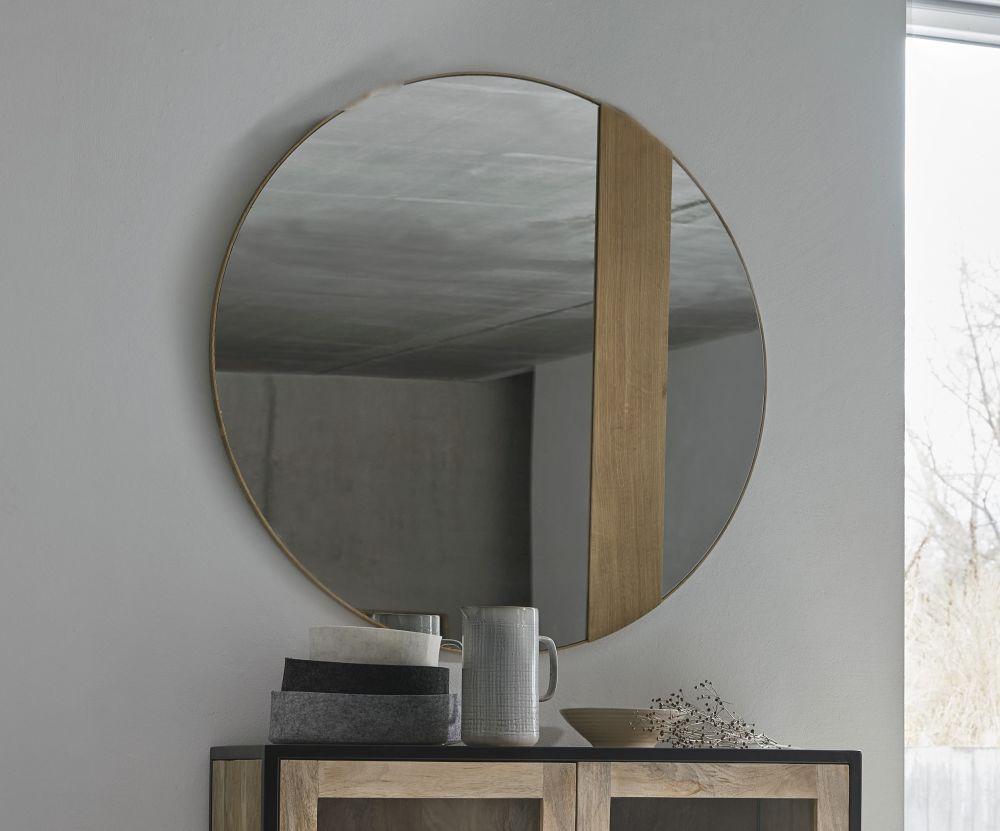 Miroir rond en métal doré D90