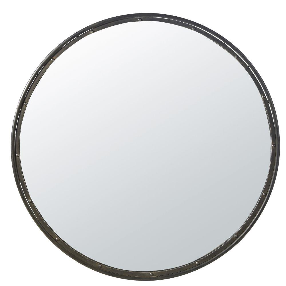 Miroir rond en métal noir D120