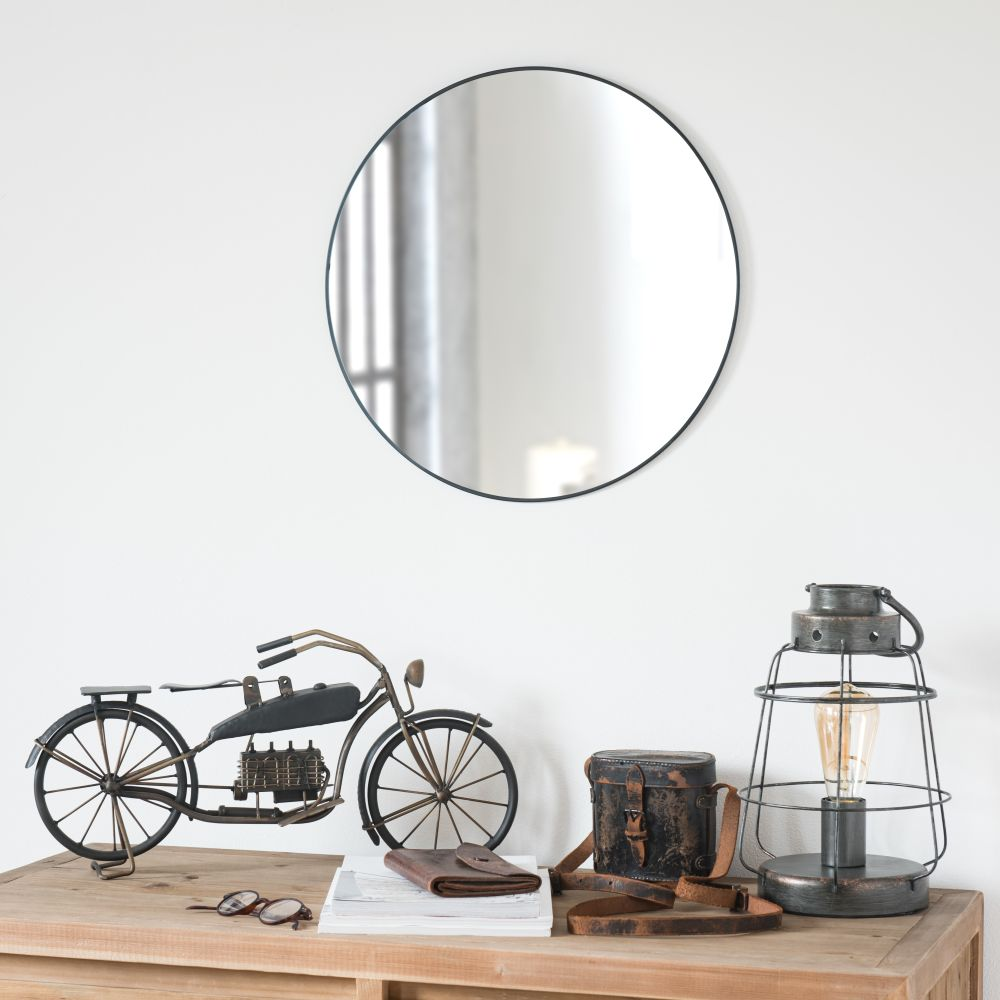 Miroir rond en métal noir D45