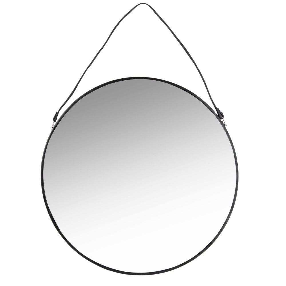 Miroir rond en métal noir D55