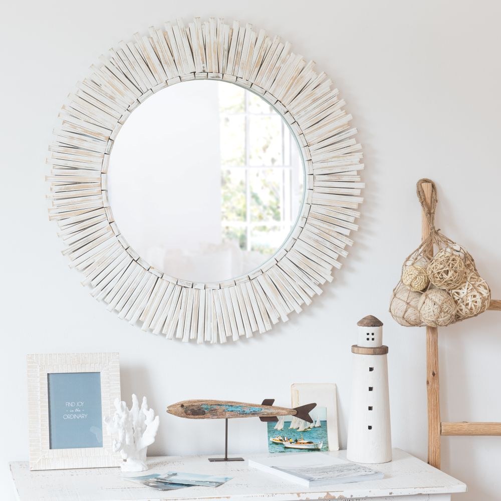 Miroir rond en paulownia blanchi D76