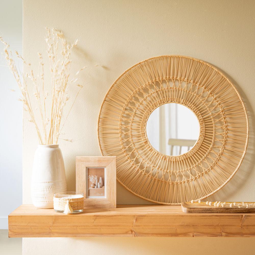Miroir rond en rotin D70