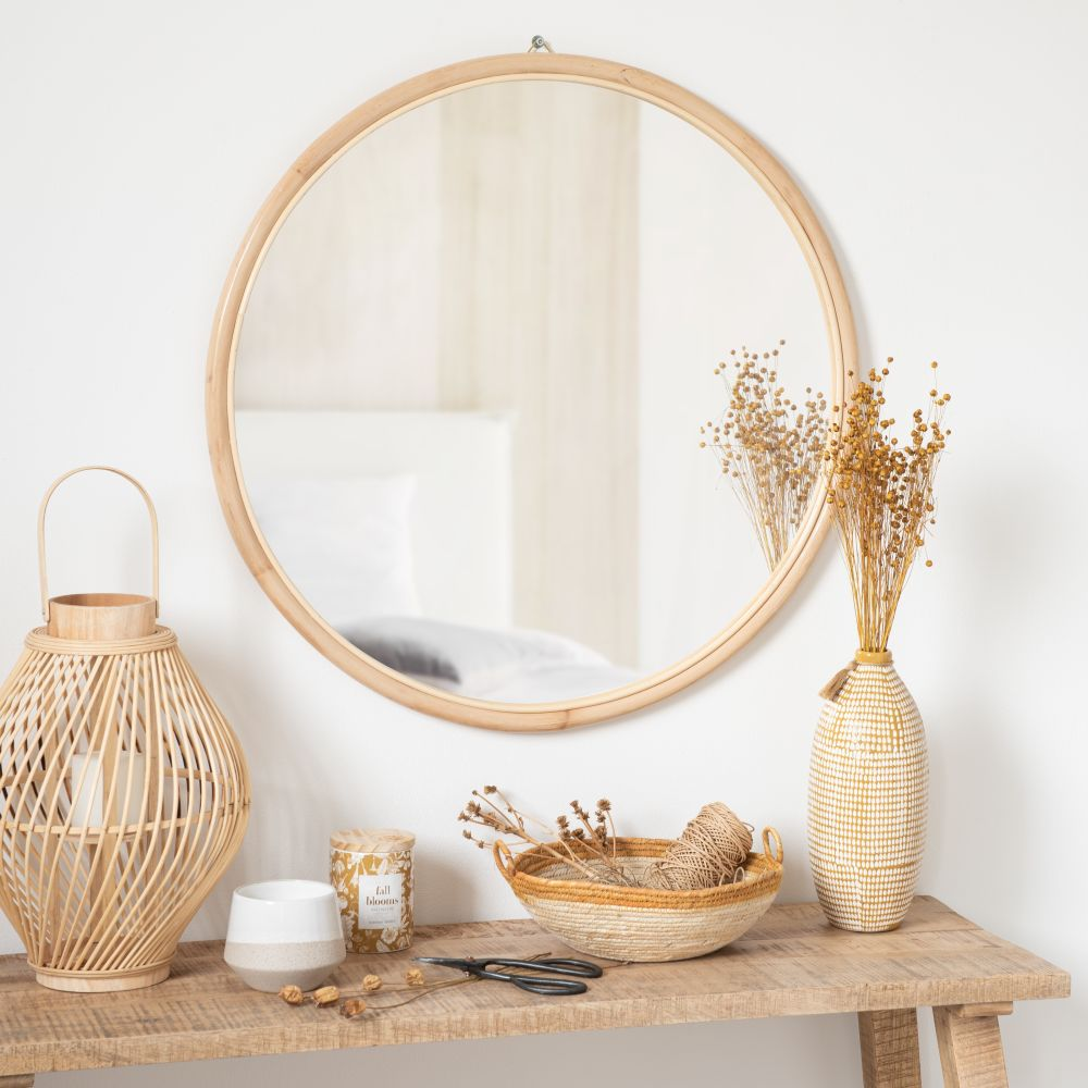 Miroir rond en rotin D75