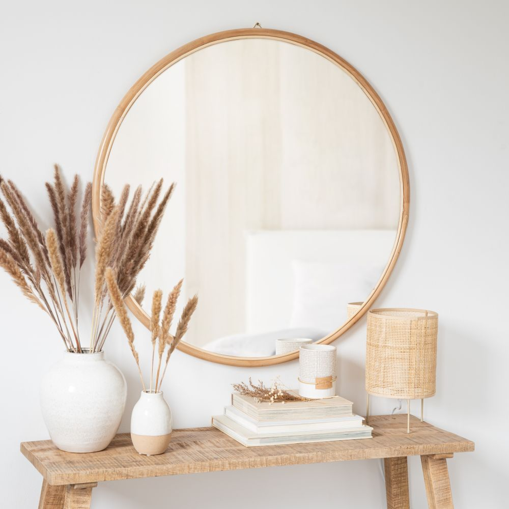 Miroir rond en rotin D97