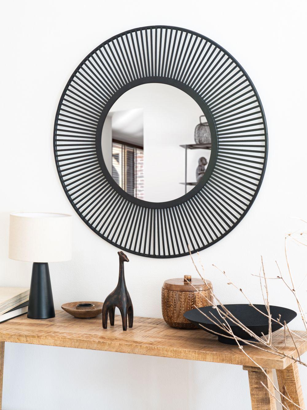 Miroir rond filaire en métal noir D72