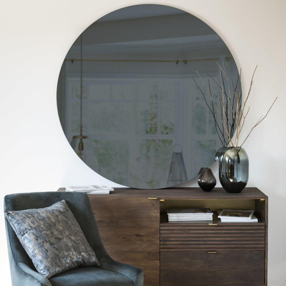 Miroir rond teinté fumé D120