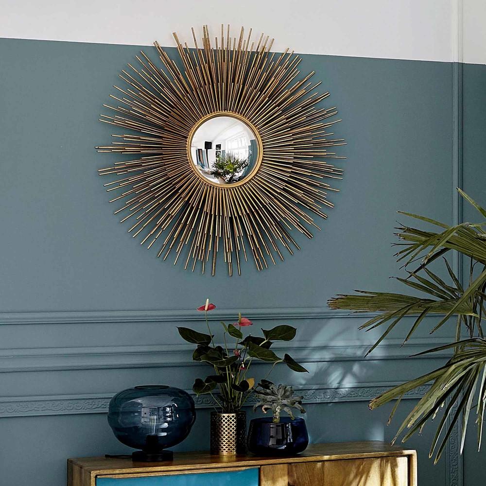 Miroir soleil en métal doré D101