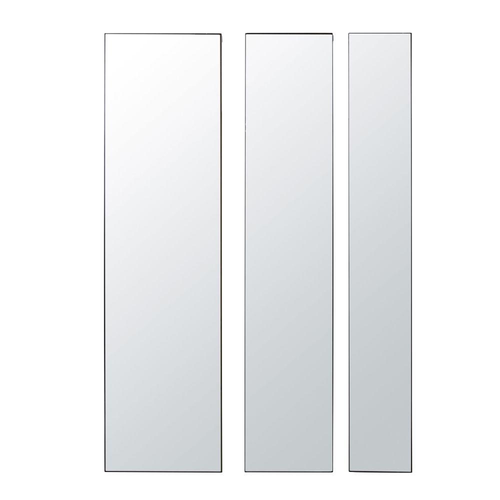 Miroir triptyque biseauté en métal noir 40x151