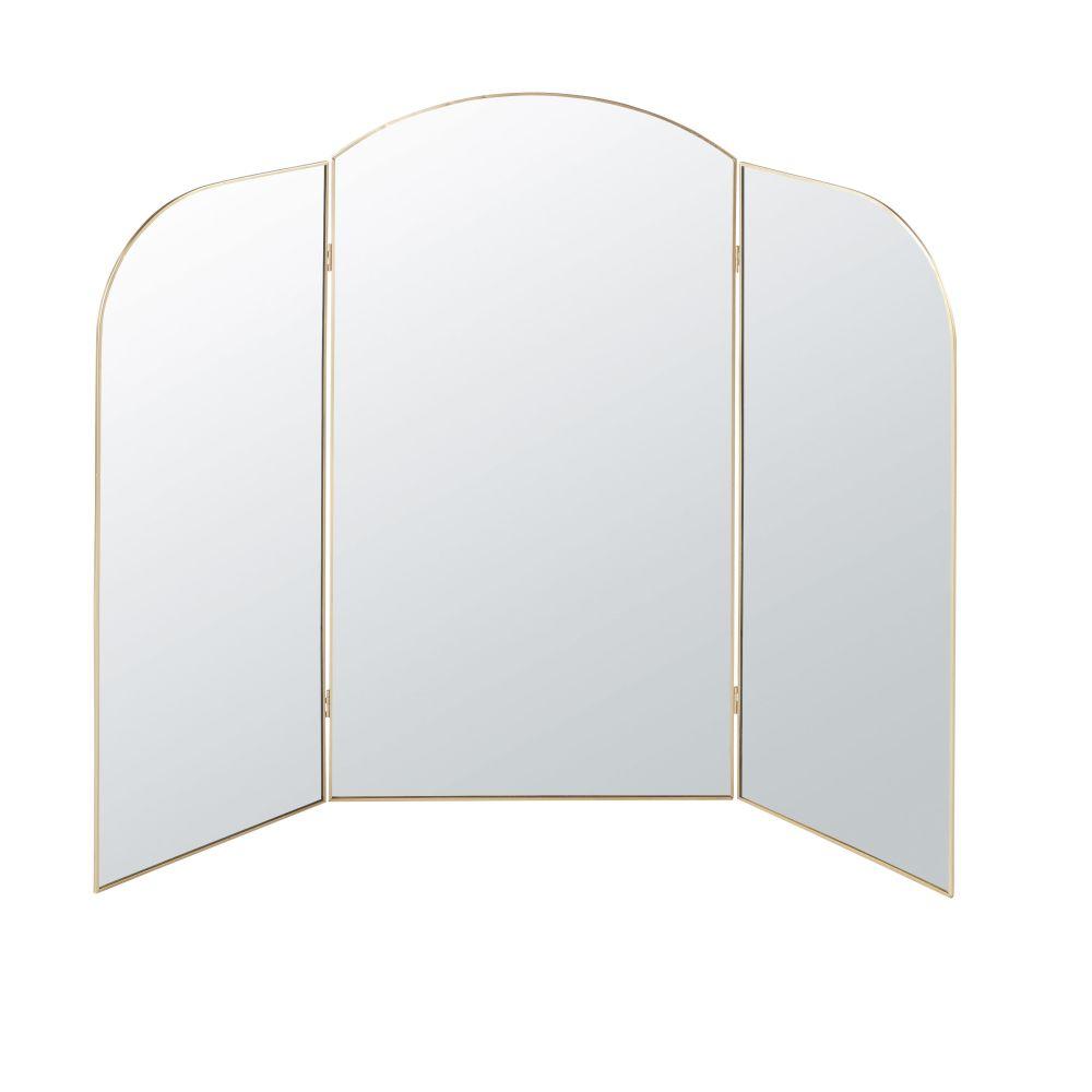 Miroir triptyque en métal doré 95x76