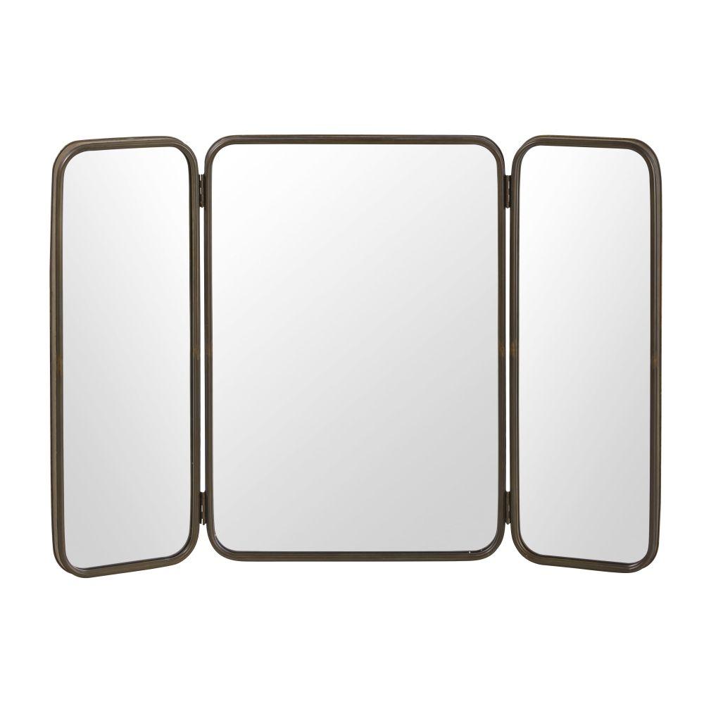 Miroir triptyque en métal noir 114x81