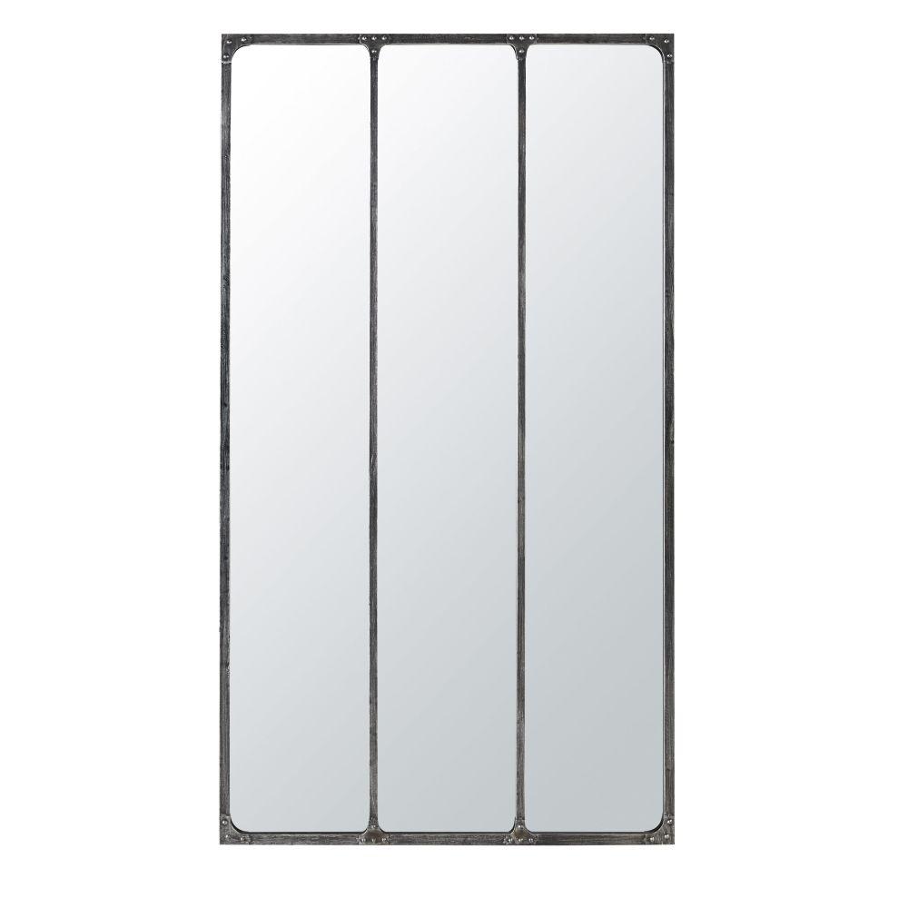 Miroir triptyque en métal noir effet vieilli 100x180