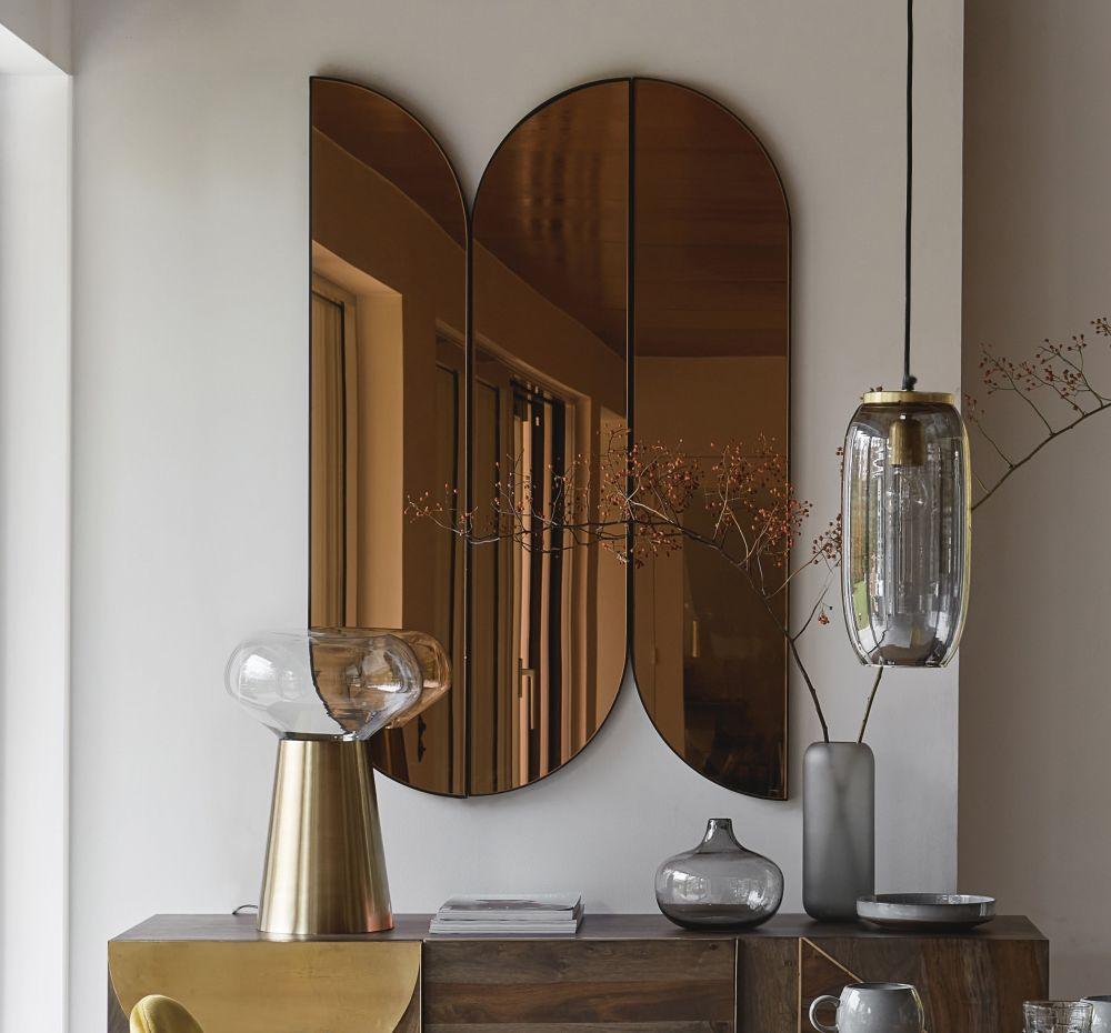 Miroirs en métal cuivré 81x122 (x3)