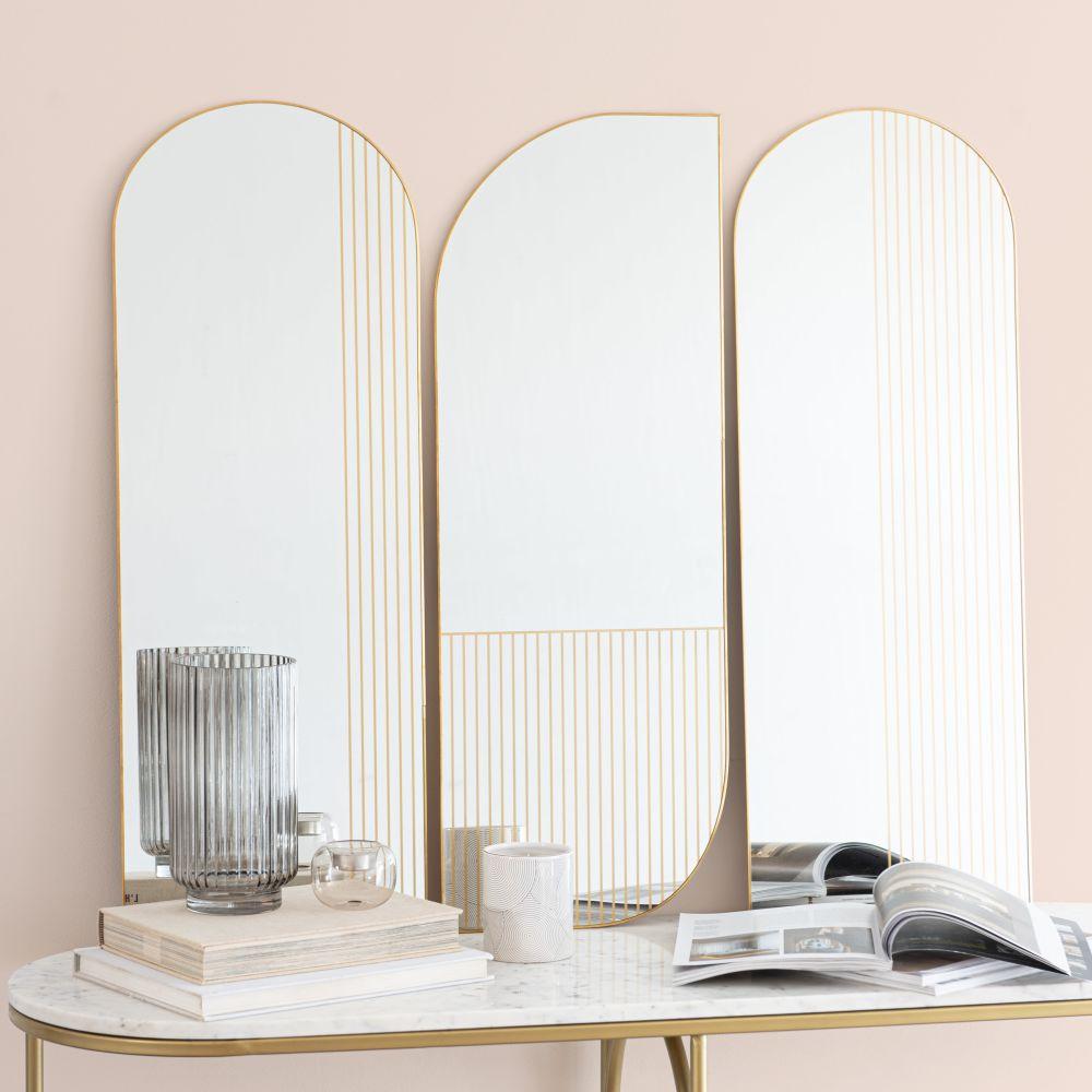 Miroirs en métal doré 30x82 (x3)