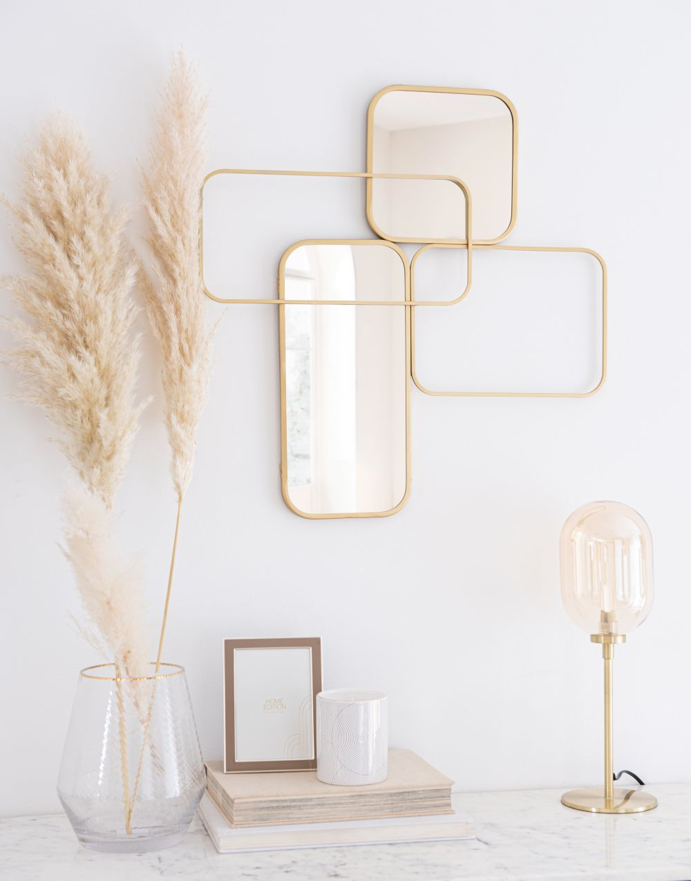 Miroirs en métal doré 57x55