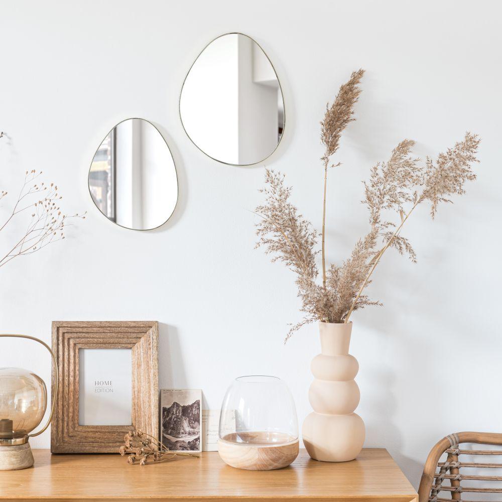 Miroirs en métal doré (x2)