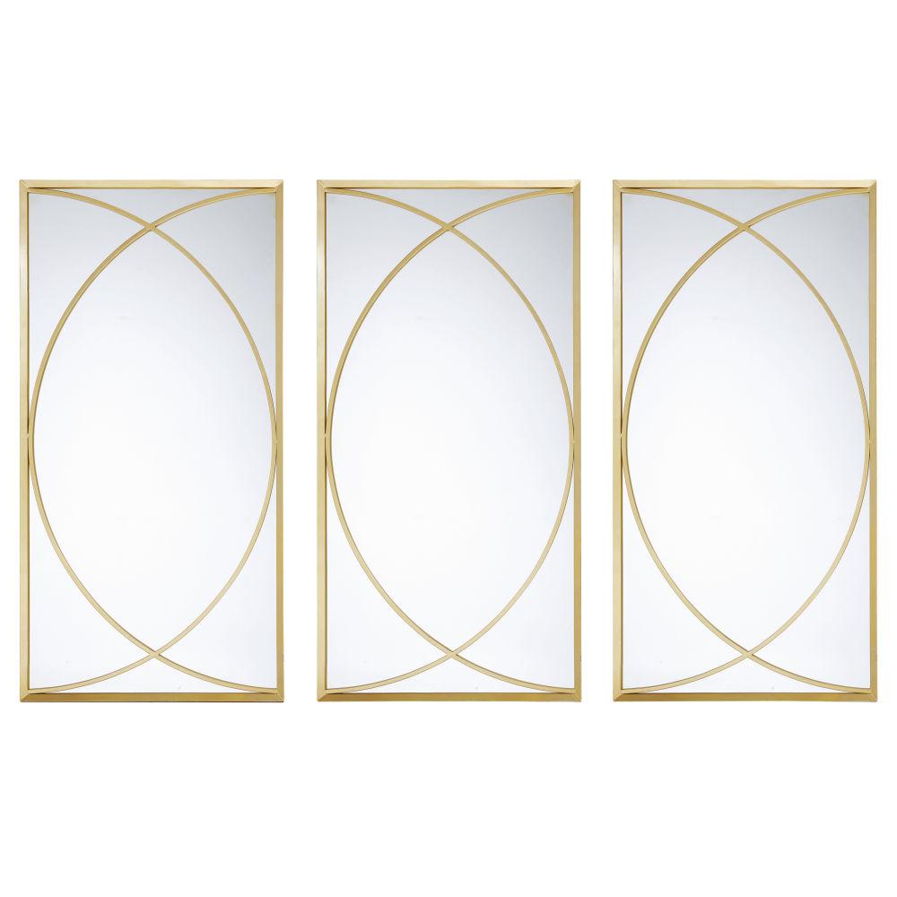 Miroirs en métal doré (x3) 60x120