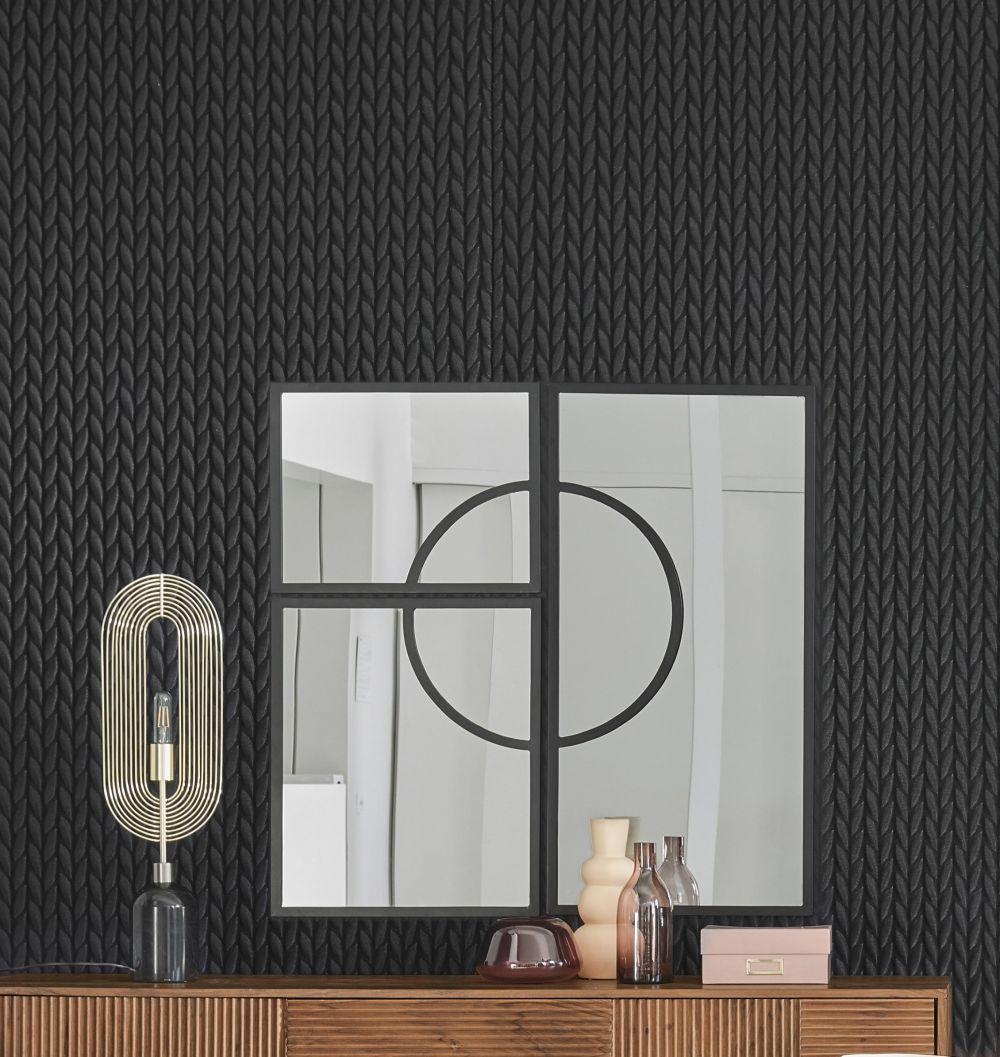Miroirs en métal noir (x3) 100x100