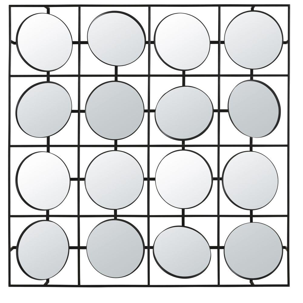 Miroirs orientables (x16) en métal noir 120x120