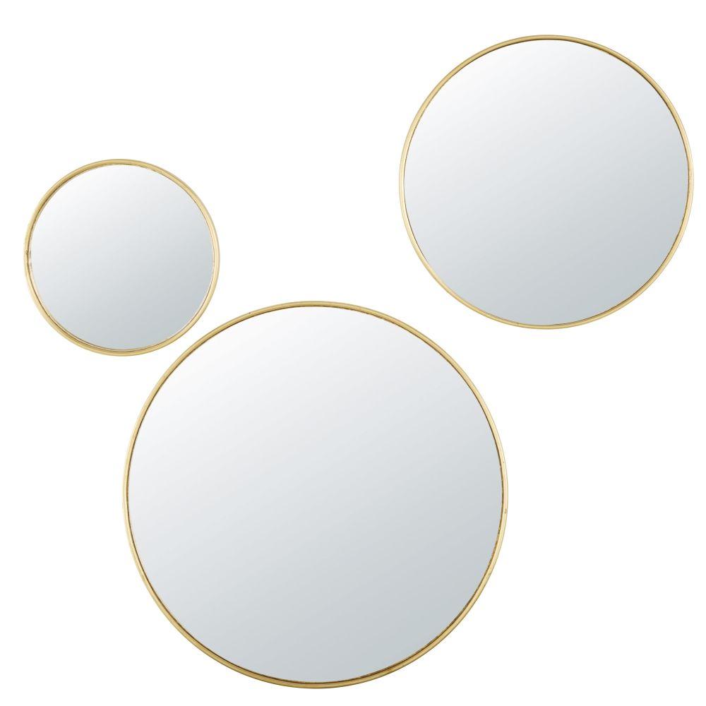 Miroirs ronds convexes en métal doré (x3)