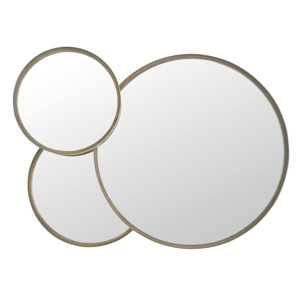 Miroirs ronds en métal coloris bronze 100x72