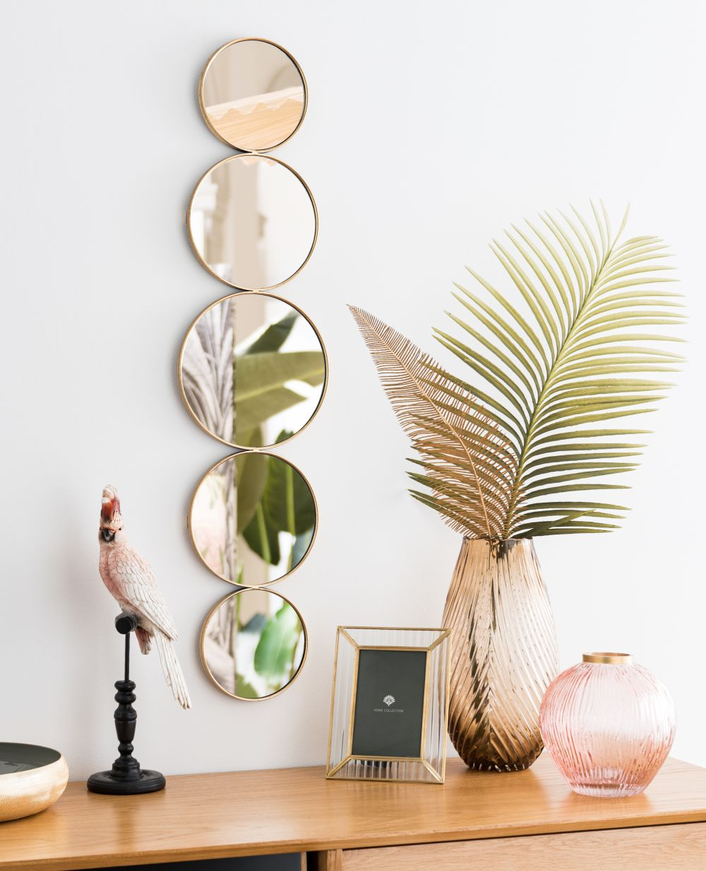 Miroirs ronds en métal doré 22x92