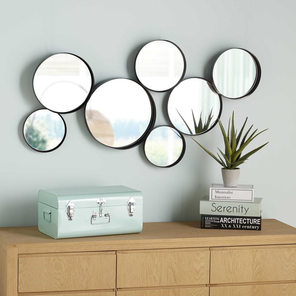 Miroirs ronds en métal noir 121x66
