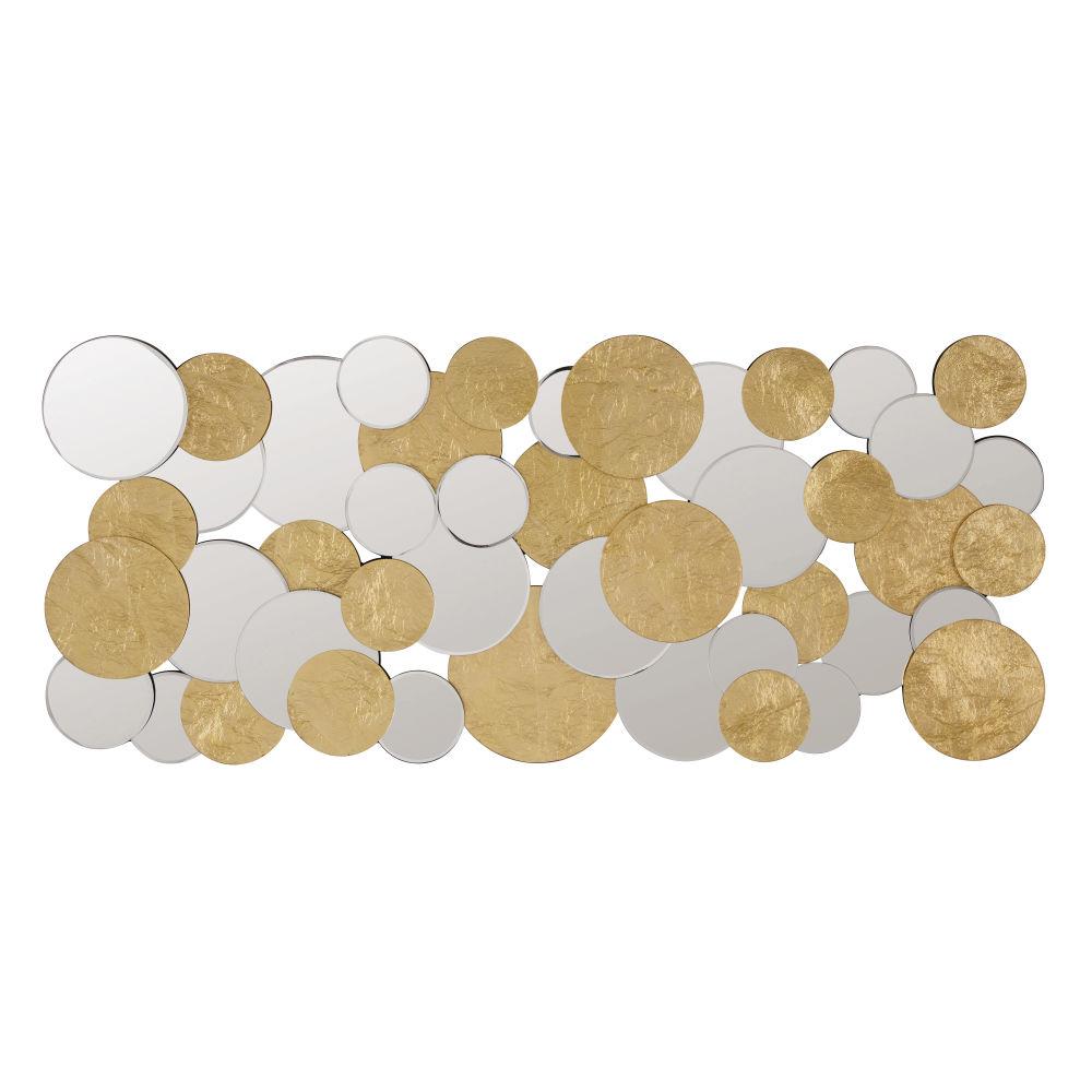 Miroirs ronds et disques en métal doré 60x140