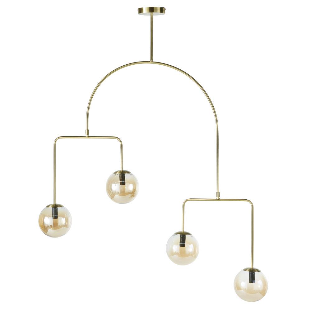 Mobiele Hanglamp Van Goudkleurig Metaal En 4 Amberkleurige Glazen Bollen