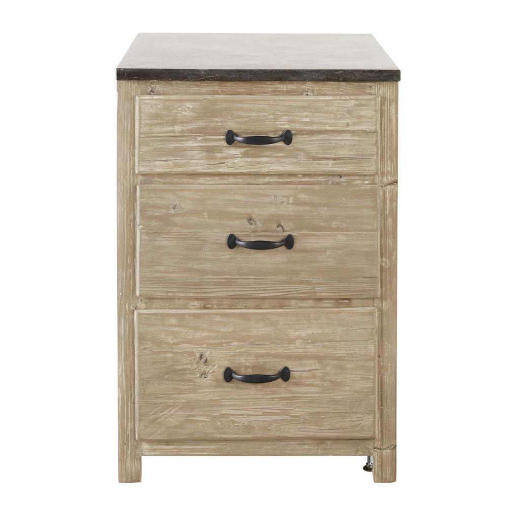 Mobile basso da cucina 3 cassetti in legno di pino riciclato