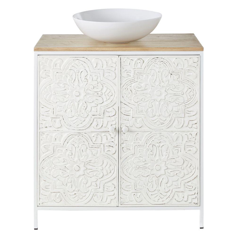 Mobile con lavabo a 2 ante in mango con foglie in metallo bianche a rilievo