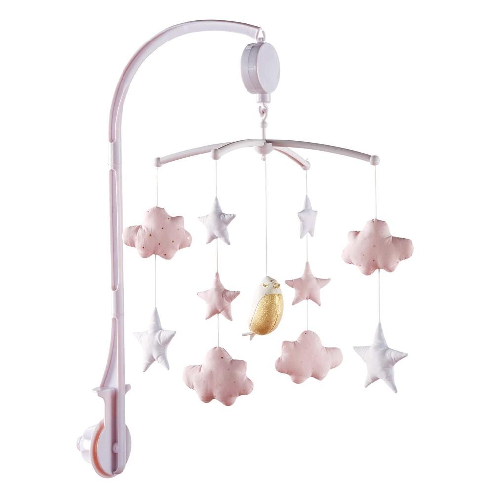 Mobile musical pour bébé blanc et rose