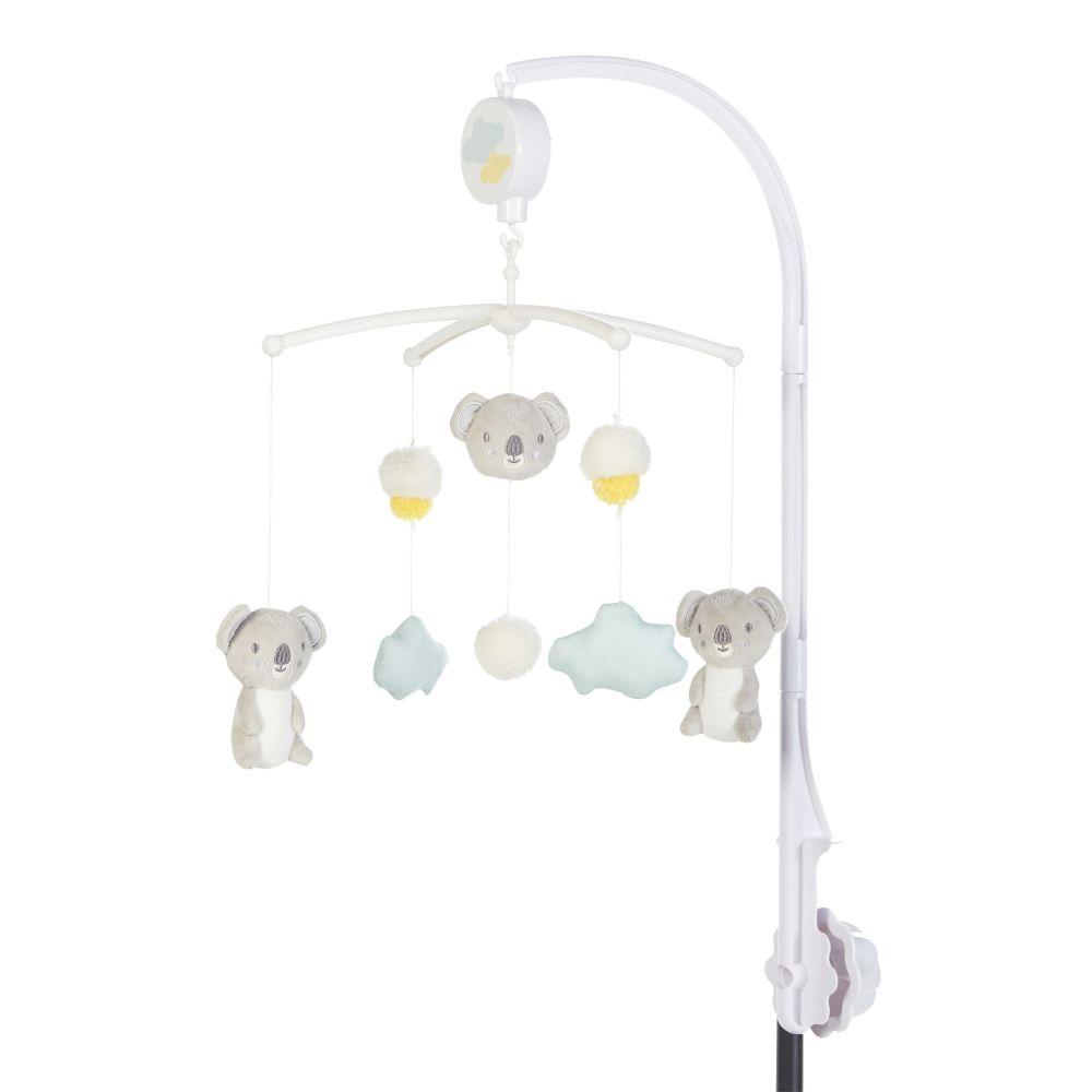 Mobile musical pour bébé en coton blanc, gris et bleu