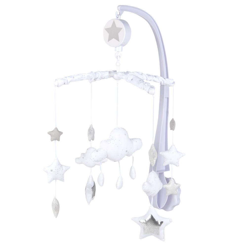 Mobile musical pour bébé en coton gris et blanc
