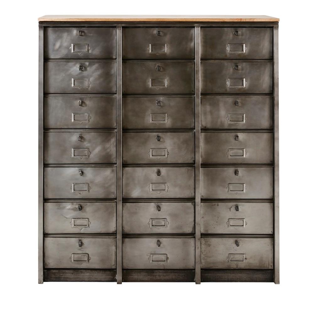 Mobiletto stile industriale a 21 cassetti in metallo