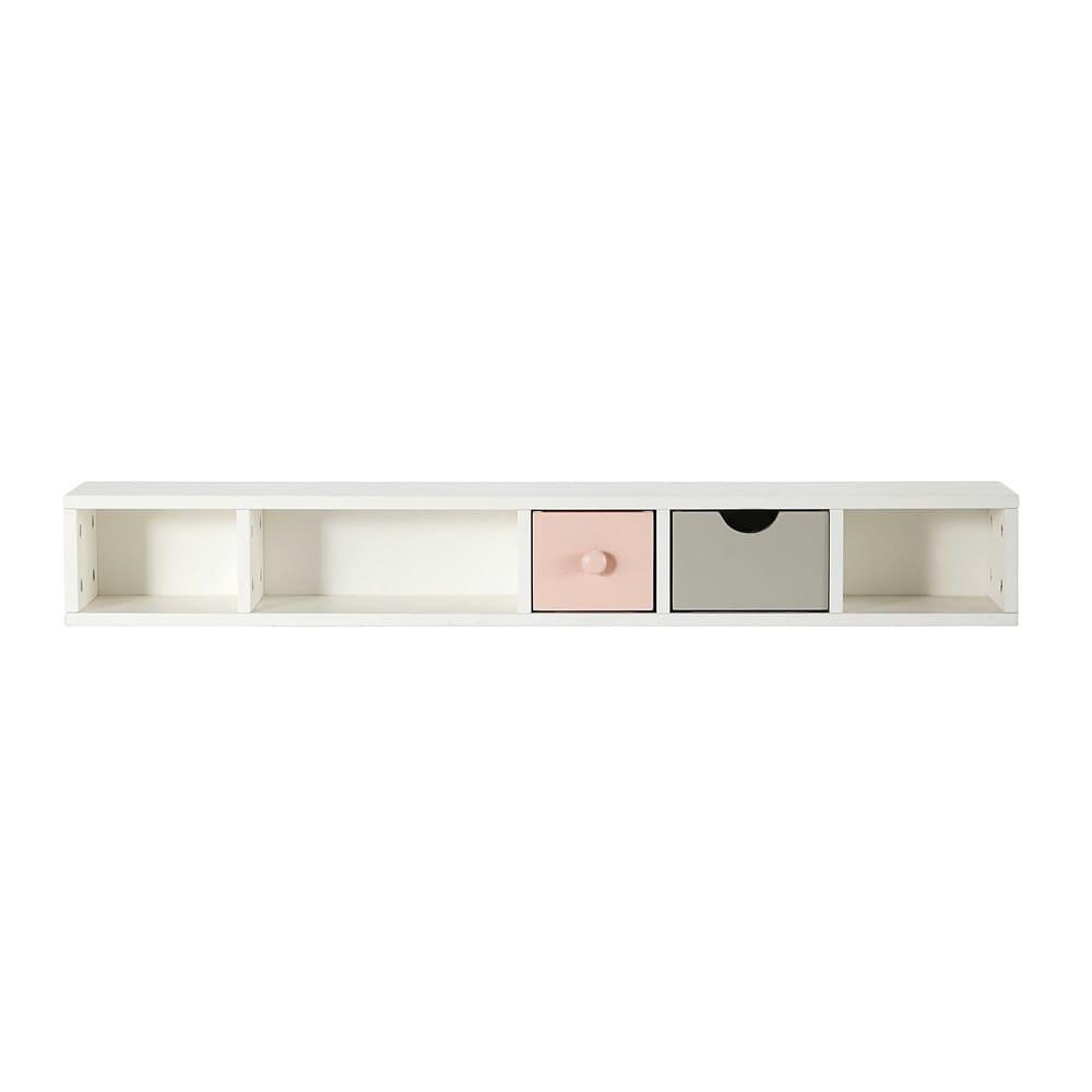 Module de rangement pour bureau 2 tiroirs rose et gris